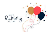 happy birthday balloon background in flat style