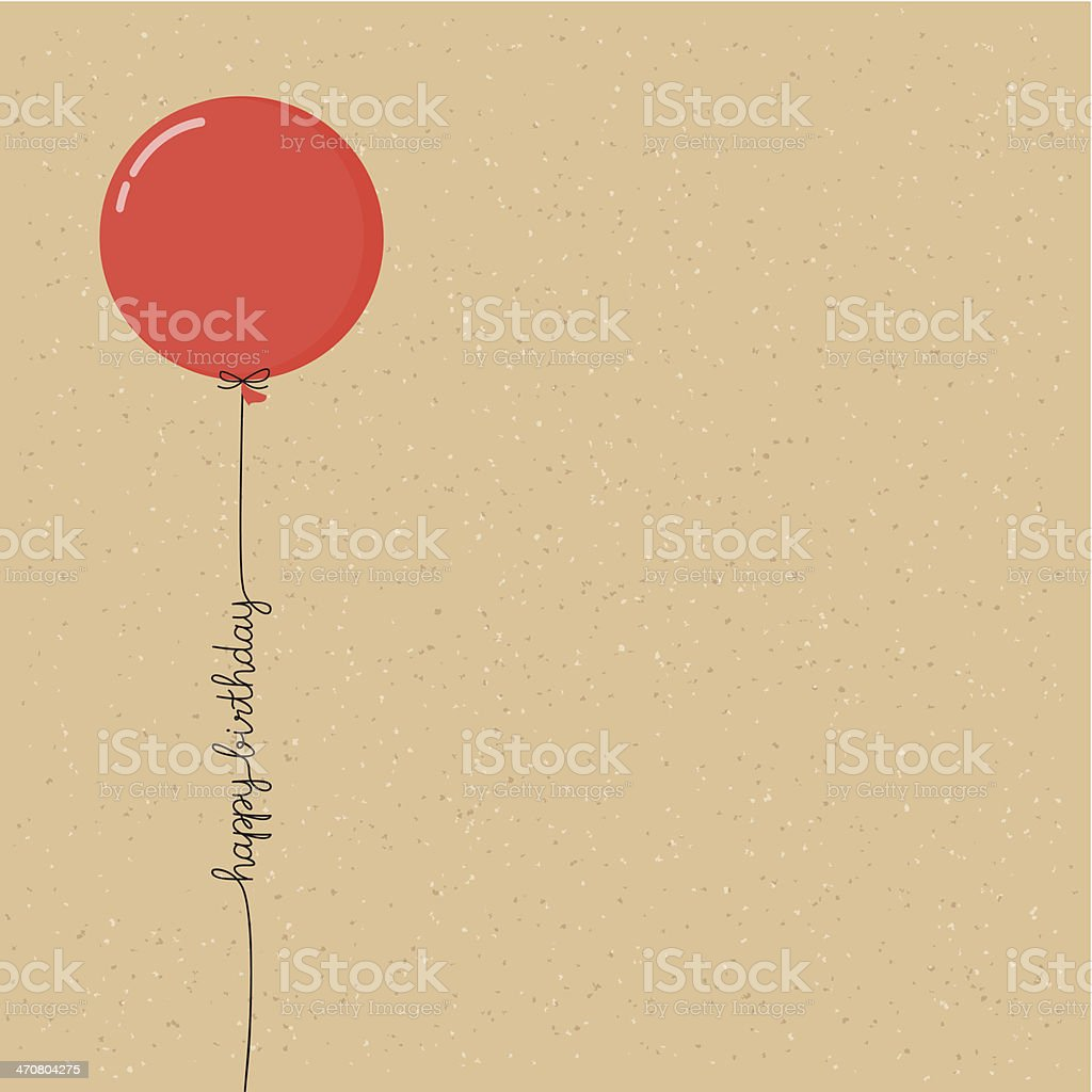 Happy birthday balloon with script vector art illustration