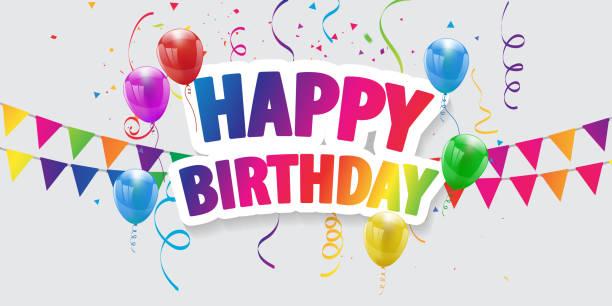 ilustraciones, imágenes clip art, dibujos animados e iconos de stock de feliz cumpleaños globos de fondo colorido celebración con confeti. - cumpleaños
