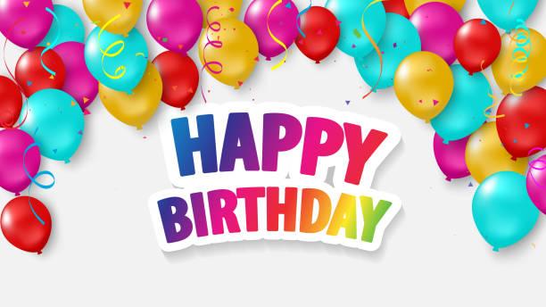 Happy Birthday balloons Colorful celebration background with confetti. Happy Birthday balloons Colorful celebration background with confetti. happy birthday stock illustrations