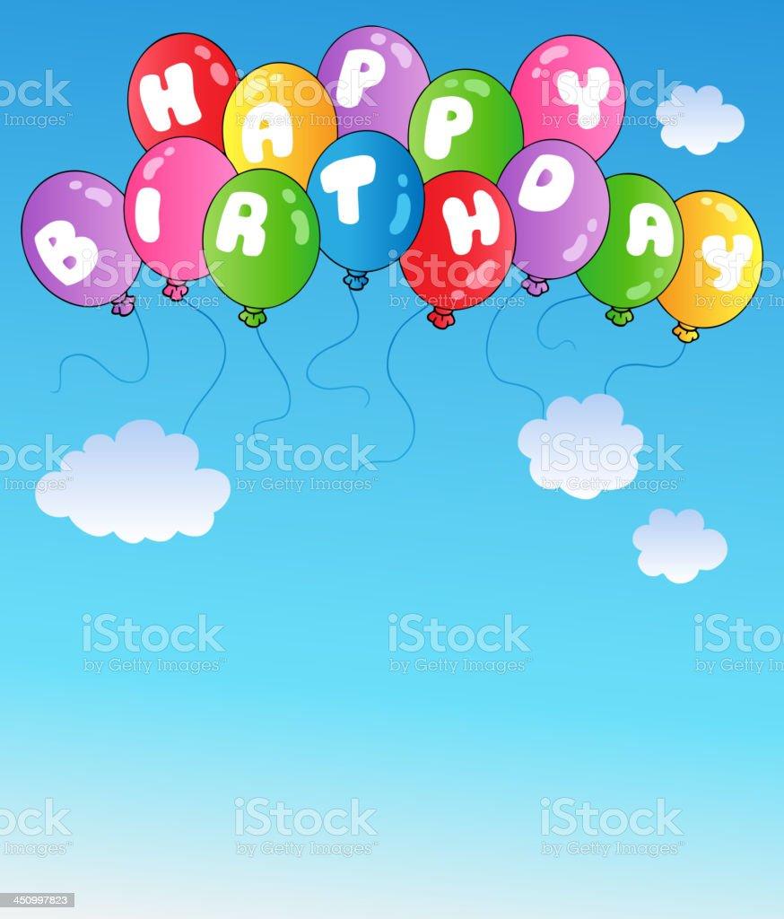 Happy birthday balloons on blue sky royalty-free stock vector art
