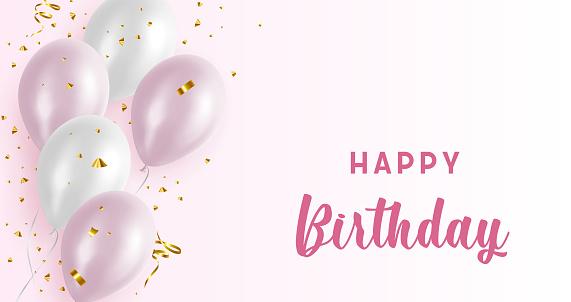 Happy Birthday Balloons Pink Background