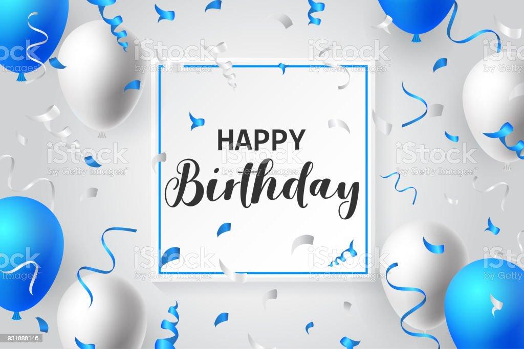 happy birthday balloons typography banner background illustration