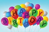 happy birthday glossy and shiny balloons .