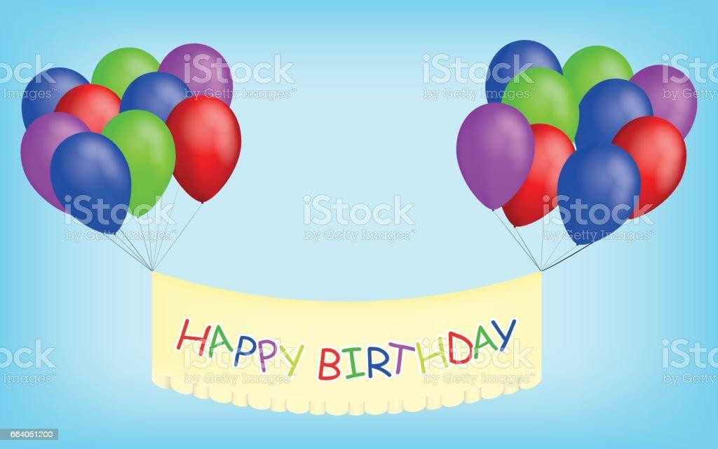 Banner Feliz Aniversario: Vetores De Balões Feliz Aniversário Com O Banner Balões