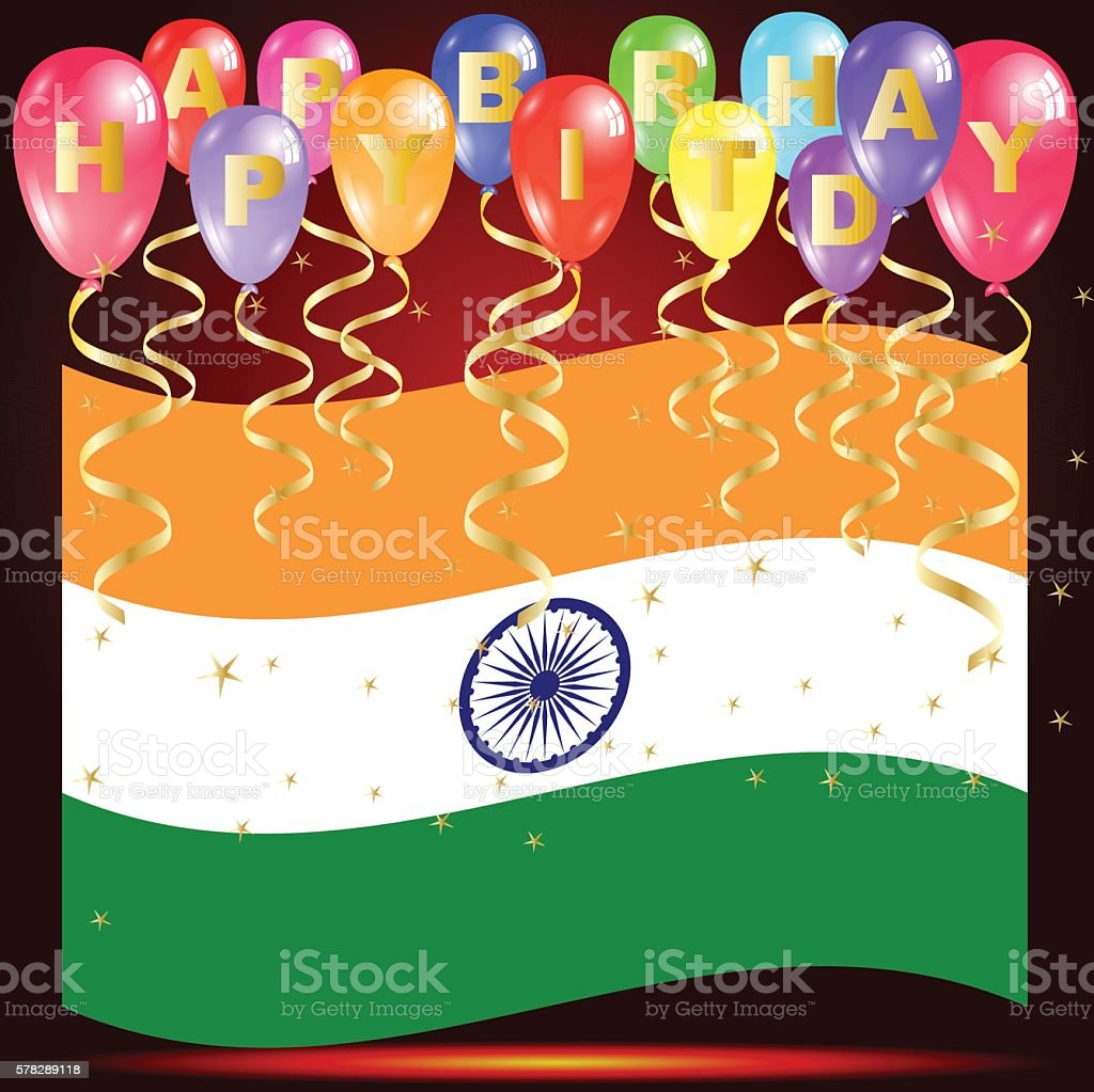 Happy Birthday Balloons With India Flag And Confetti Lizenzfreies