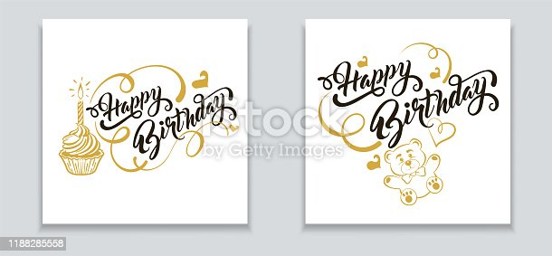 Happy Birthday: banner, greeting card. Two vector templates in retro style a birthday celebration. Vector image