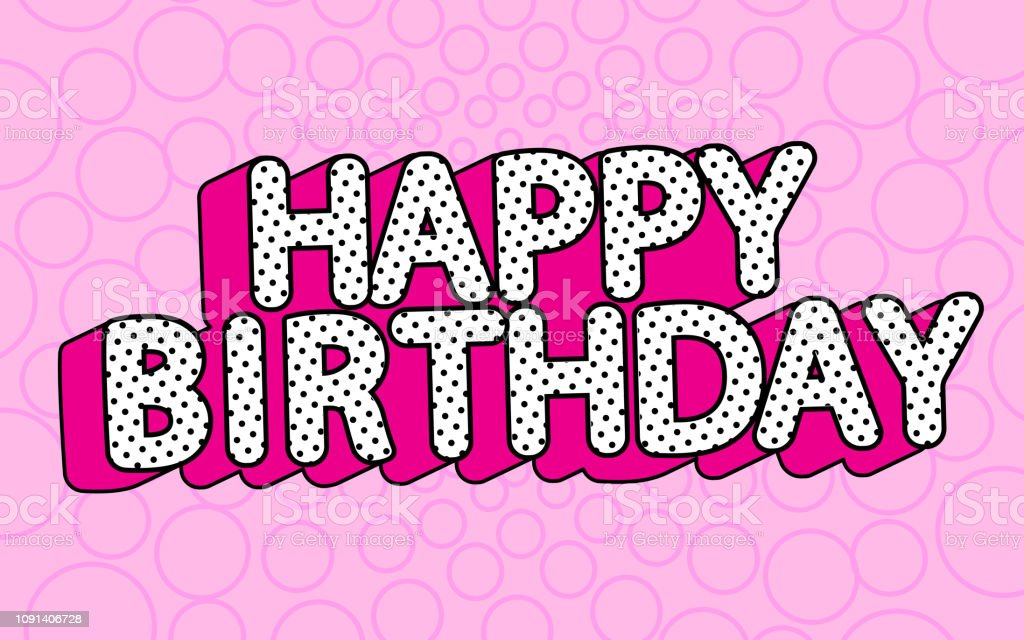 Happy Birthday Banner Text With Hot Pink Shadow Themed Party
