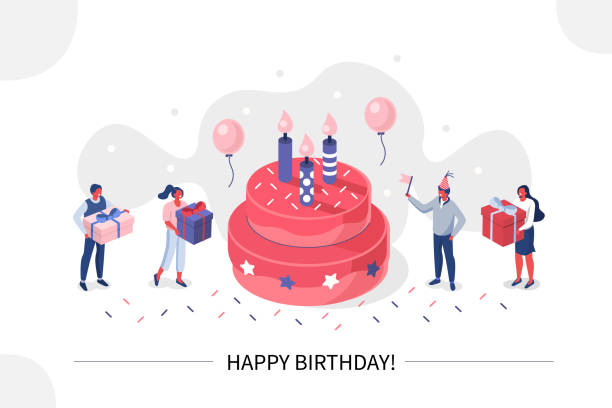happy birthday banner Business People Characters standing near Birthday Cake and Celebrating. Woman and Man holding Gift and Balloons. Friends Enjoying the Party. Happy Birthday Concept. Flat Isometric Vector Illustration. happy birthday stock illustrations