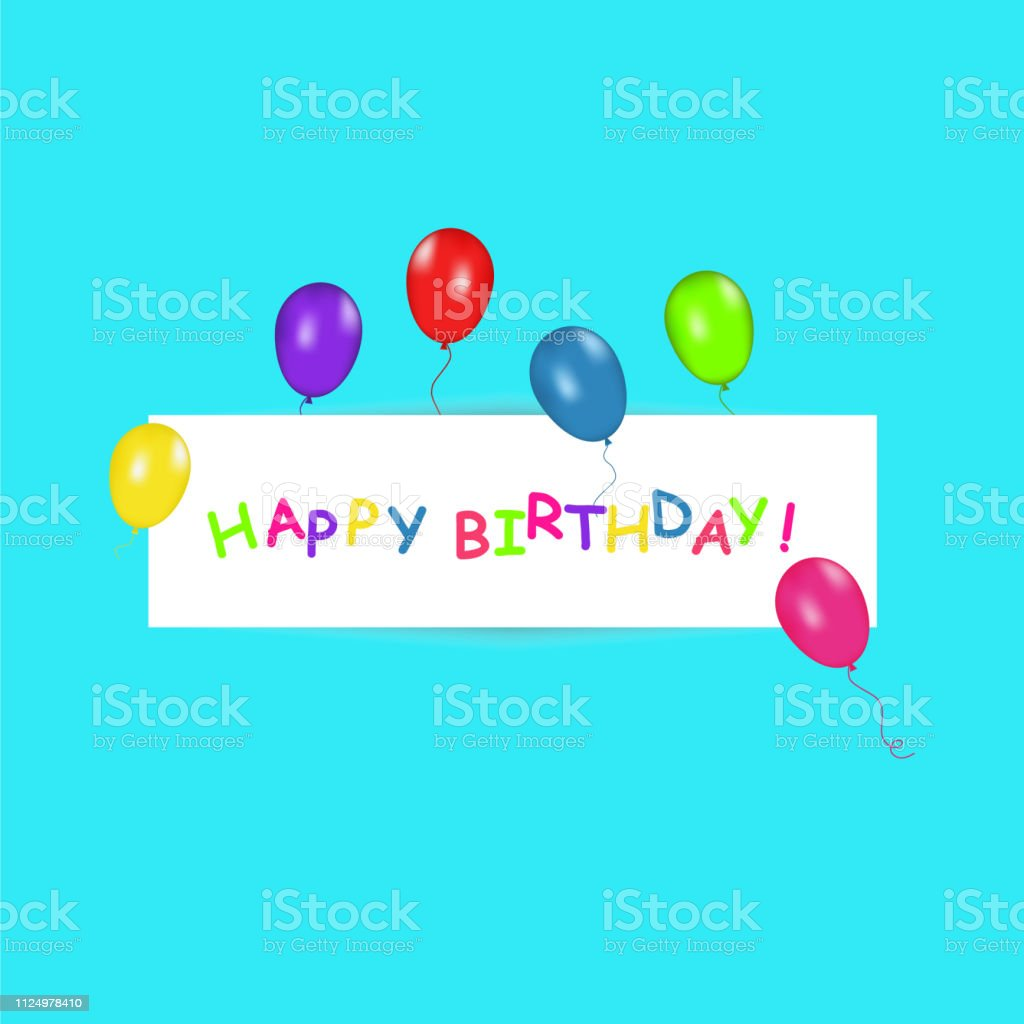 Happy Birthday banner with color balloons on trendy blue background....
