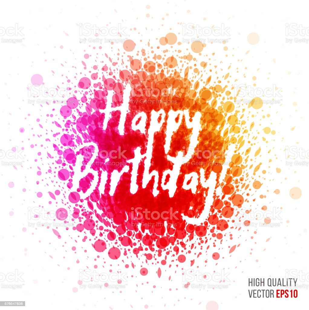 Happy Birthday Beautiful Design Element For Greeting Card Templa