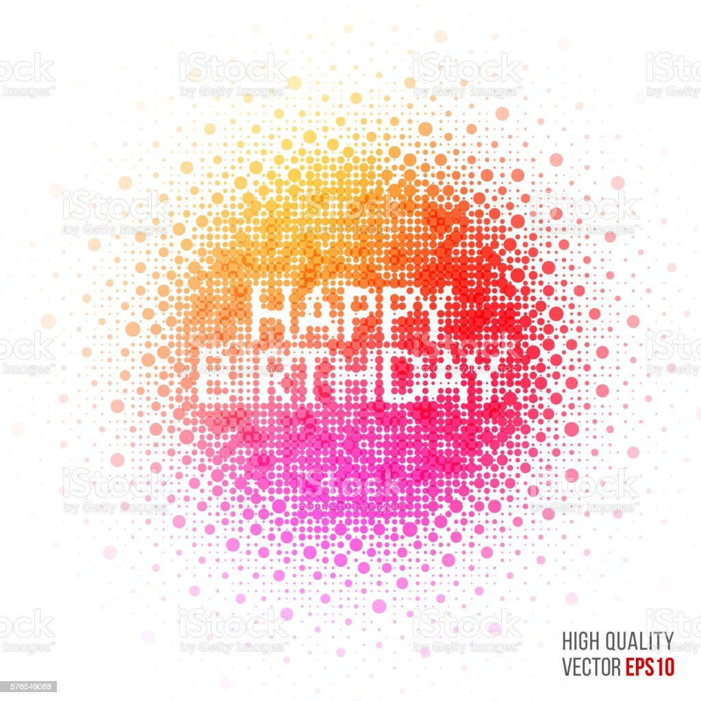 Happy Birthday Beautiful Design Element For Greeting Card