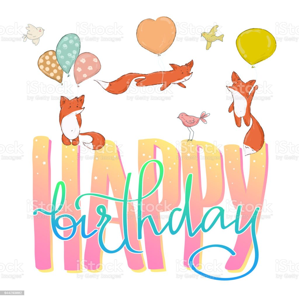 Happy Birthday Beautiful Greeting Card Calligraphy Text With