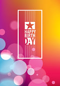 Happy Birthday beautiful greeting card vector design. Includes lettering composition placed over colorful blurred lights abstract background. A4 format with CMYK colors acceptable for print.