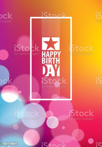 Happy Birthday Beautiful Greeting Card Vector Design Includes Lettering Composition Placed Over Colorful Blurred Lights Abstract Background A4 Format With Cmyk Colors Acceptable For Print - Stockowe grafiki wektorowe i więcej obrazów Abstrakcja