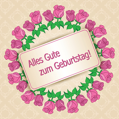 Happy birthday - beige vector background with roses