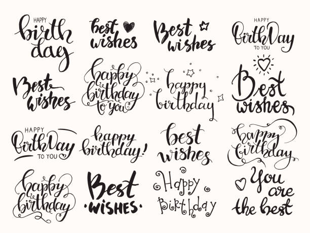 happy birthday, best wishes. big artistic clipart collection of design elements for congratulation card, banner, poster, flyer templates. isolated vector set. - prezent na urodziny stock illustrations