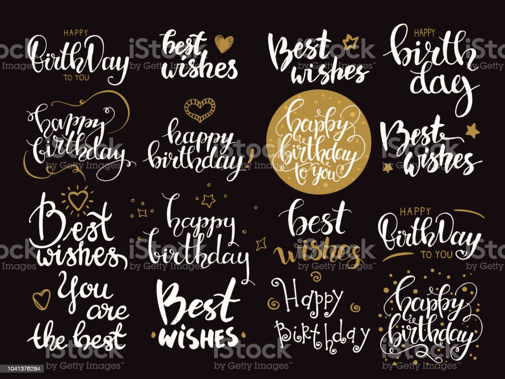 Happy Birthday Best Wishes Congratulations Phrases Handwritten
