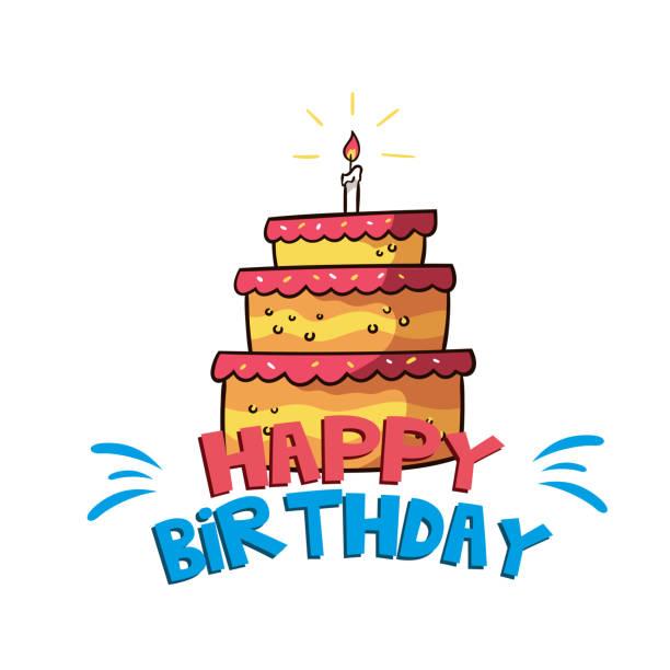 Joyeux anniversaire gros gâteau Orange Background Image vectorielle - Illustration vectorielle