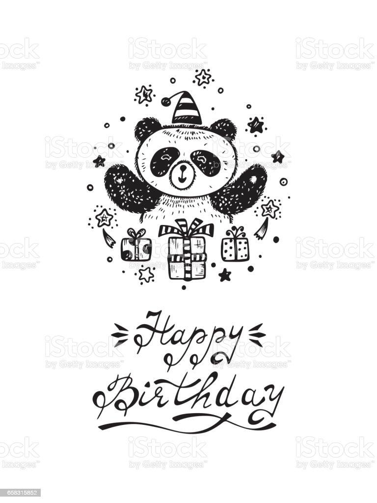Happy birthday birthday vector card with a cute panda bear and gifts happy birthday birthday vector card with a cute panda bear and gifts hand drawn bookmarktalkfo Choice Image