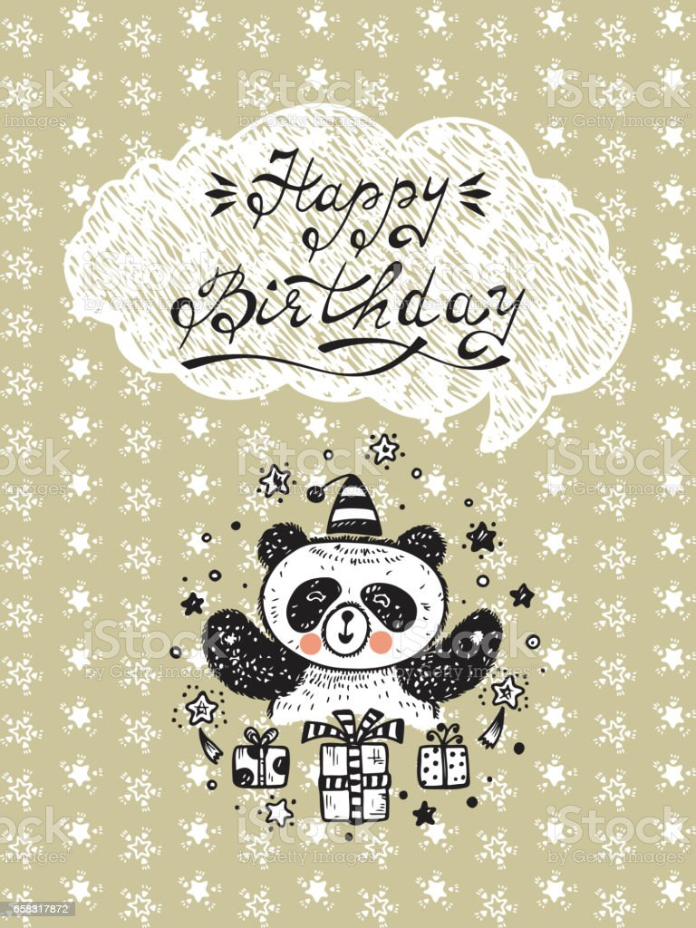 happy birthday birthday vector card with a cute panda bear and gifts