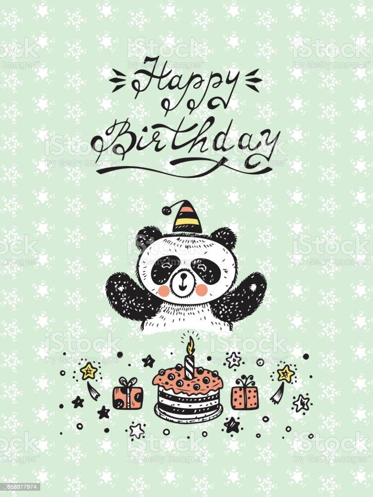 Happy birthday birthday vector card with a cute panda bear cake and happy birthday birthday vector card with a cute panda bear cake and gifts bookmarktalkfo Choice Image
