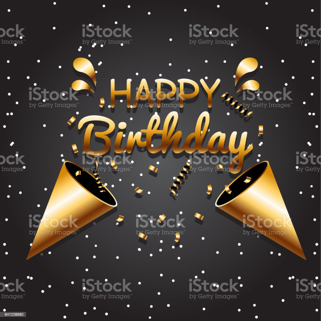 Happy Birthday Black Gold Background Vector Image Royalty Free