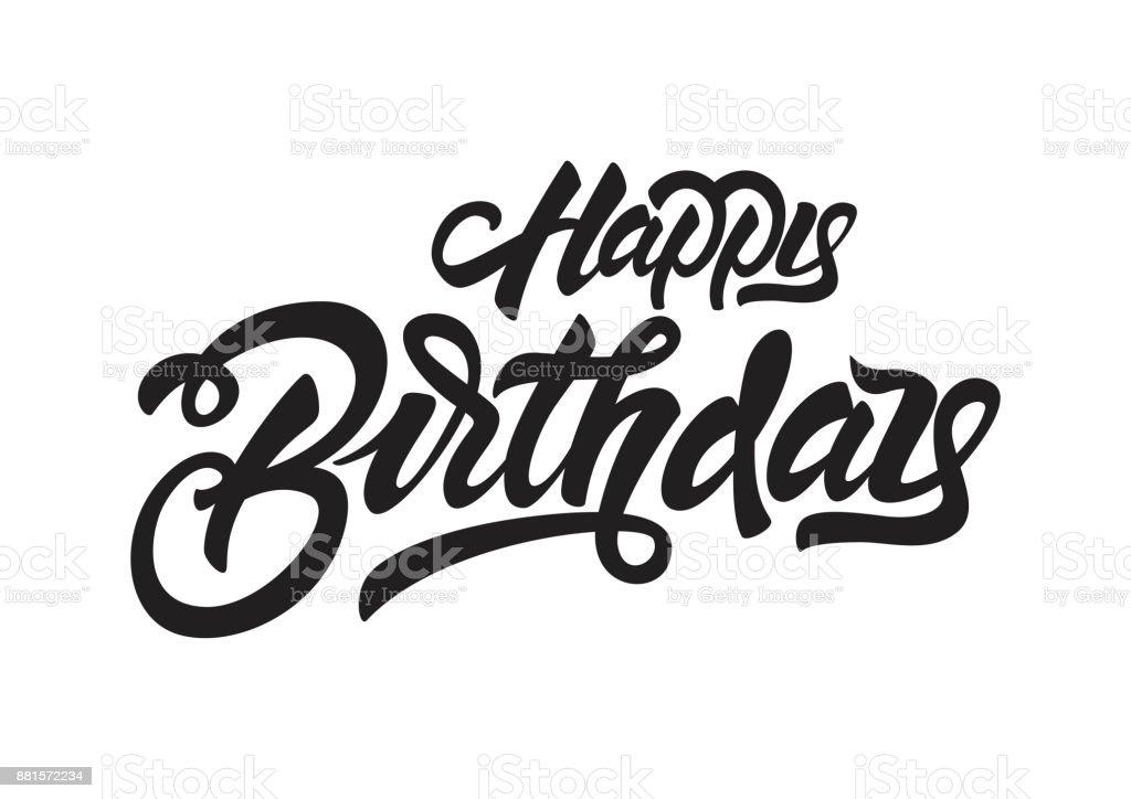 お誕生日おめでとう黒の文字イラストです手描き T シャツ プリント デザインの招待状です手書き筆文字 お祝いのベクターアート素材や画像を多数ご用意 Istock