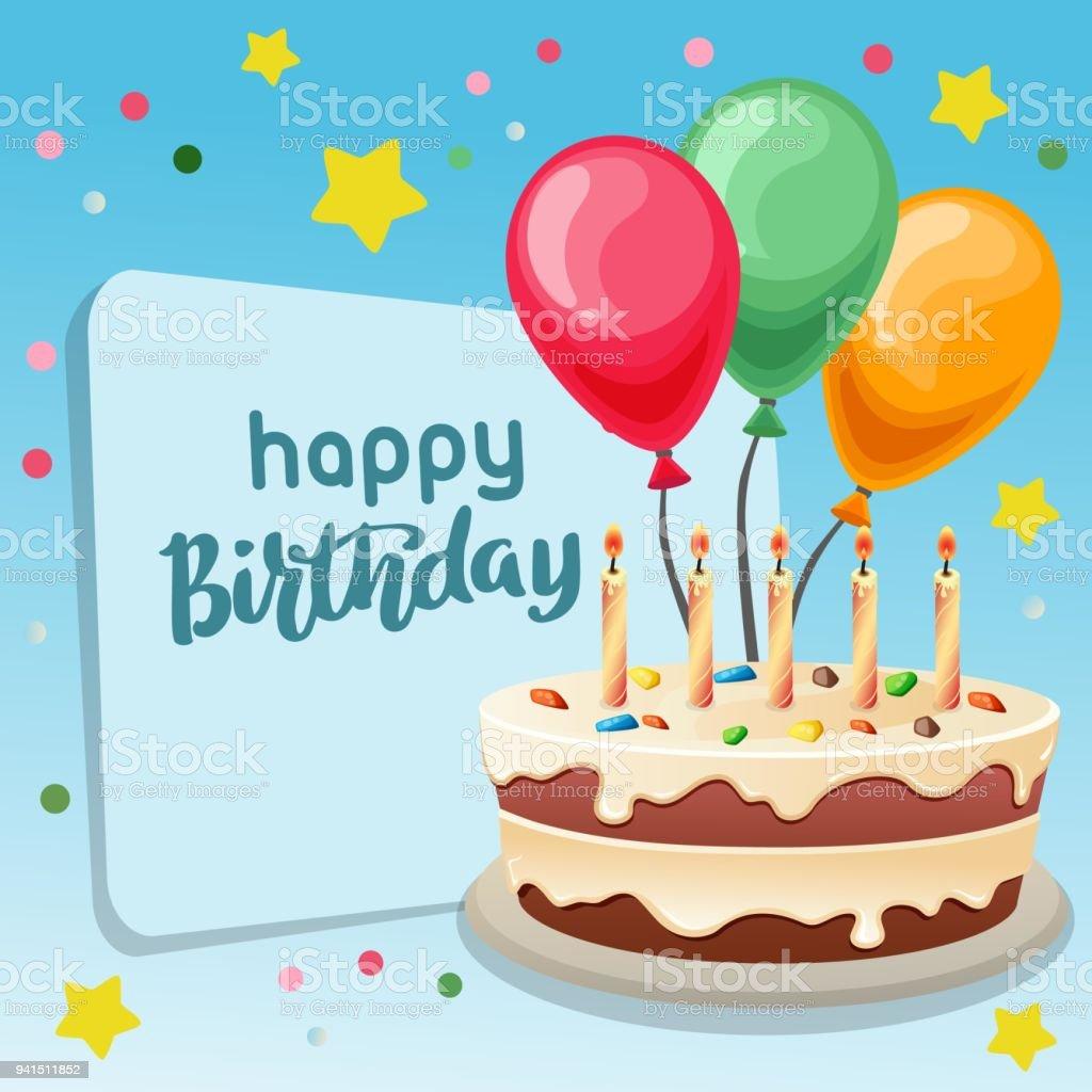 Happy Birthday Blauen Hintergrund Mit Grossen Kuchen Stock Vektor Art