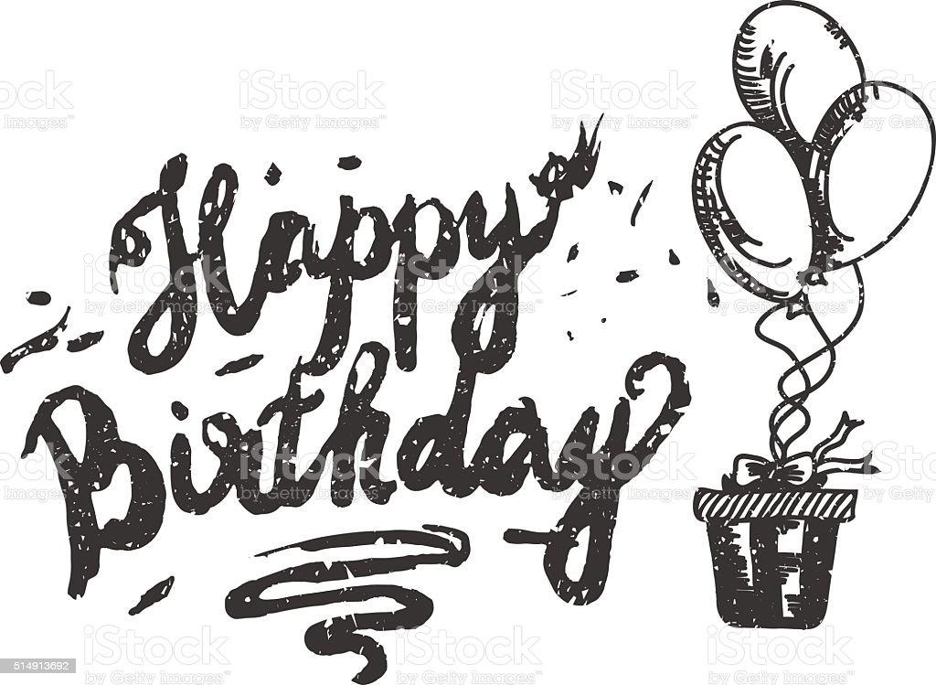Happy birthday brush script style hand lettering original hand stock