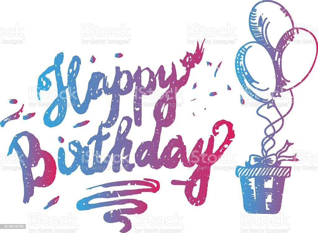 Glücklich Geburtstag Pinsel Skript Design Hand Schriftzug Original ...