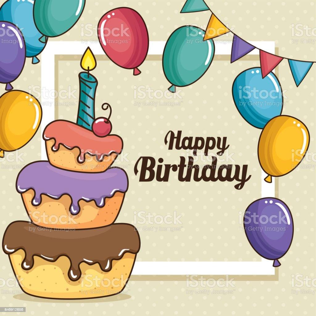 Happy Birthday Cake And Balloons Design Stock Vector Art More