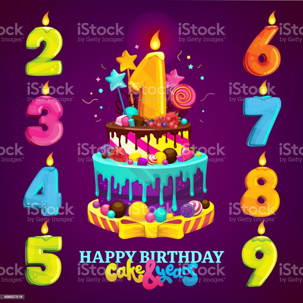 Happy Birthday Cake And Numbers For Each Year Vector Illustration