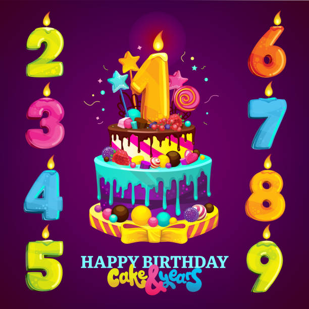 Royalty Free First Birthday Cake Clip Art Vector Images
