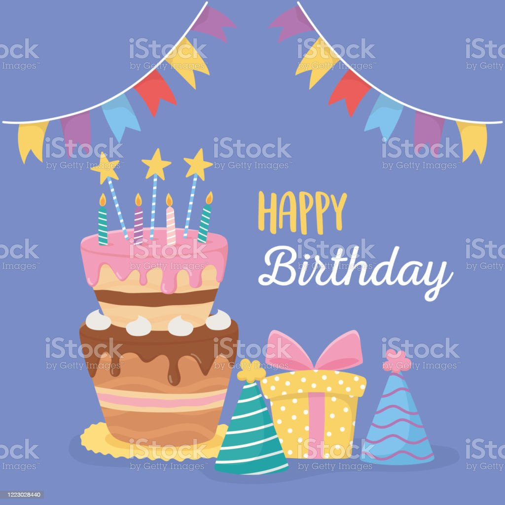 Happy Birthday Cake Candles Party Hats Gift Box And Pennants Celebration Stock Illustration Download Image Now Istock