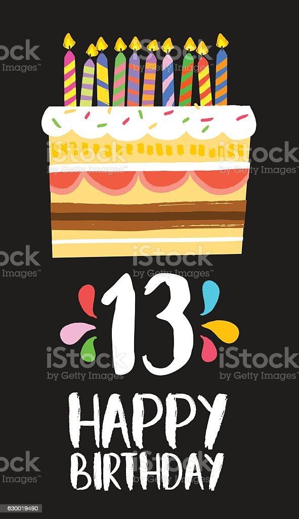 Happy Birthday cake card 13 thirteen year party vector art illustration