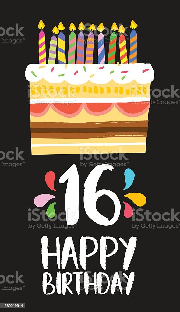 Happy Birthday Cake Card 16 Sixteen Year Party Lizenzfreies