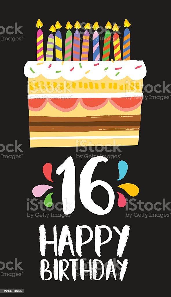 Happy Birthday cake card 16 sixteen year party vector art illustration