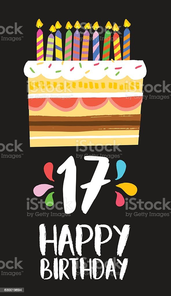 Happy Birthday Cake Card 17 Seventeen Year Party Lizenzfreies