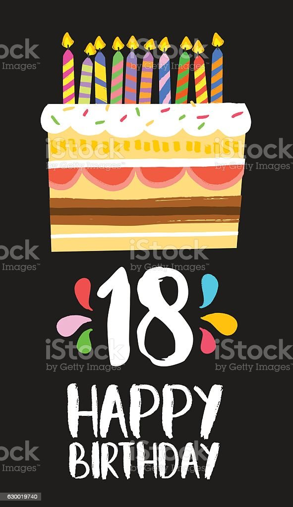 Happy Birthday cake card 18 eighteen year party vector art illustration