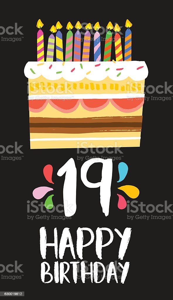 Happy Birthday Cake Card 19 Nineteen Year Party Lizenzfreies