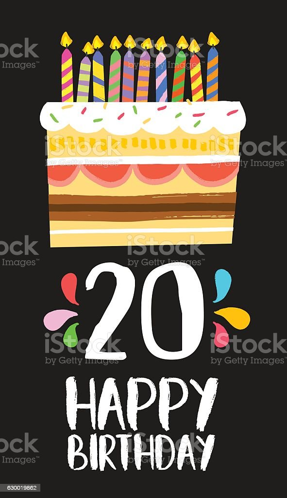 Awesome Happy Birthday Cake Card 20 Twenty Year Party Stockvectorkunst En Birthday Cards Printable Benkemecafe Filternl