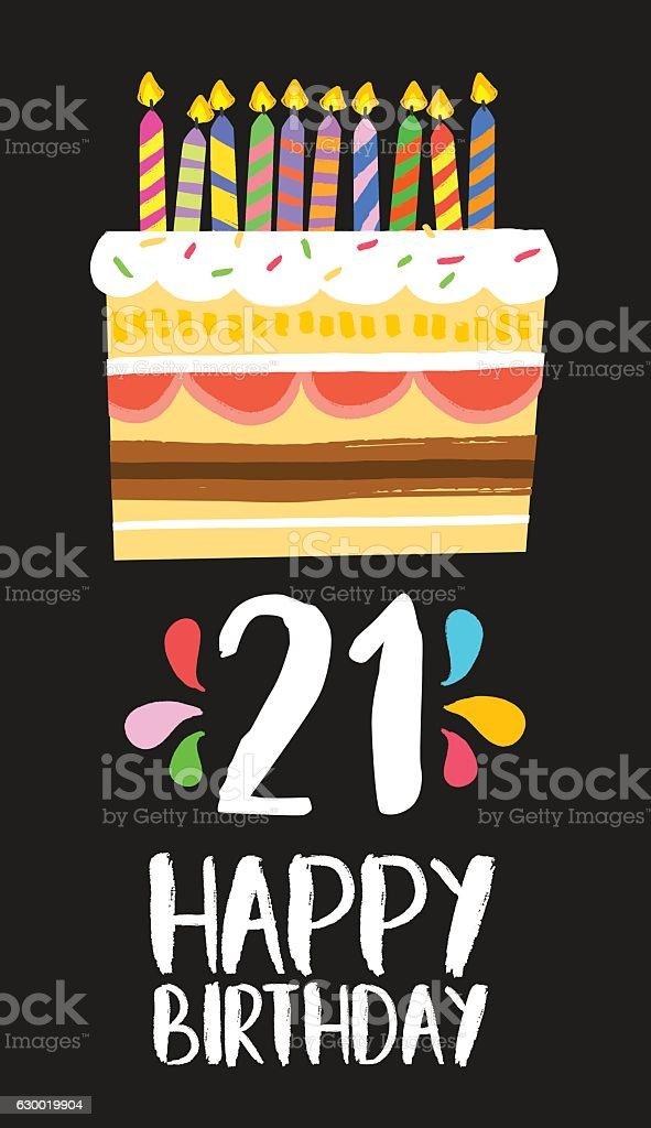 Happy Birthday Cake Card 21 Twenty One Year Party Stock Vector Art