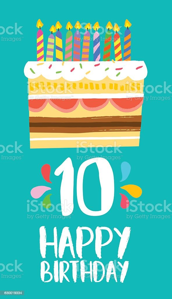 Happy Birthday cake card for 10 ten year party vector art illustration