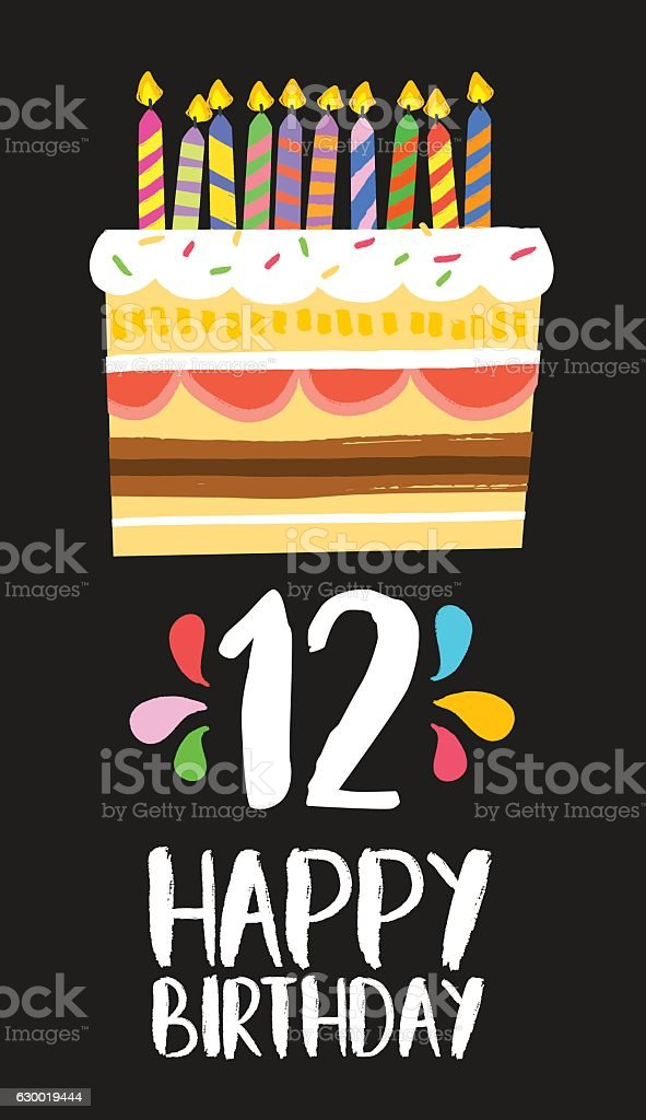 Happy Birthday cake card for 12 twelve year party vector art illustration