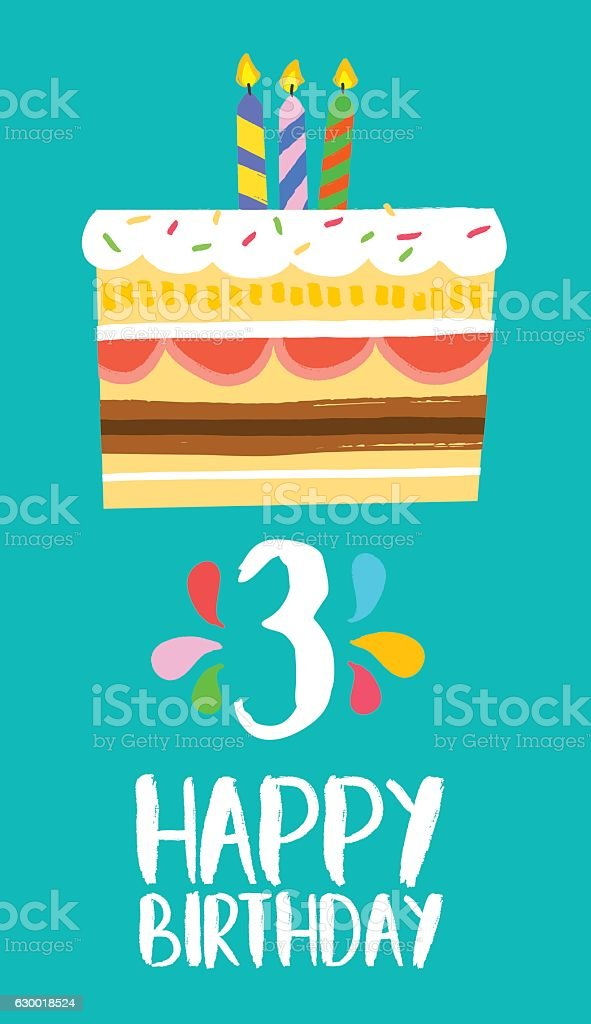 Amazing Happy Birthday Cake Card For 3 Three Year Party Stockvectorkunst Funny Birthday Cards Online Overcheapnameinfo