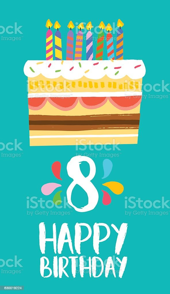 Happy Birthday cake card for 8 eight year party vector art illustration