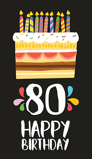 Happy Birthday Cake Card For 80 Eighty Year Party Vector Art Illustration