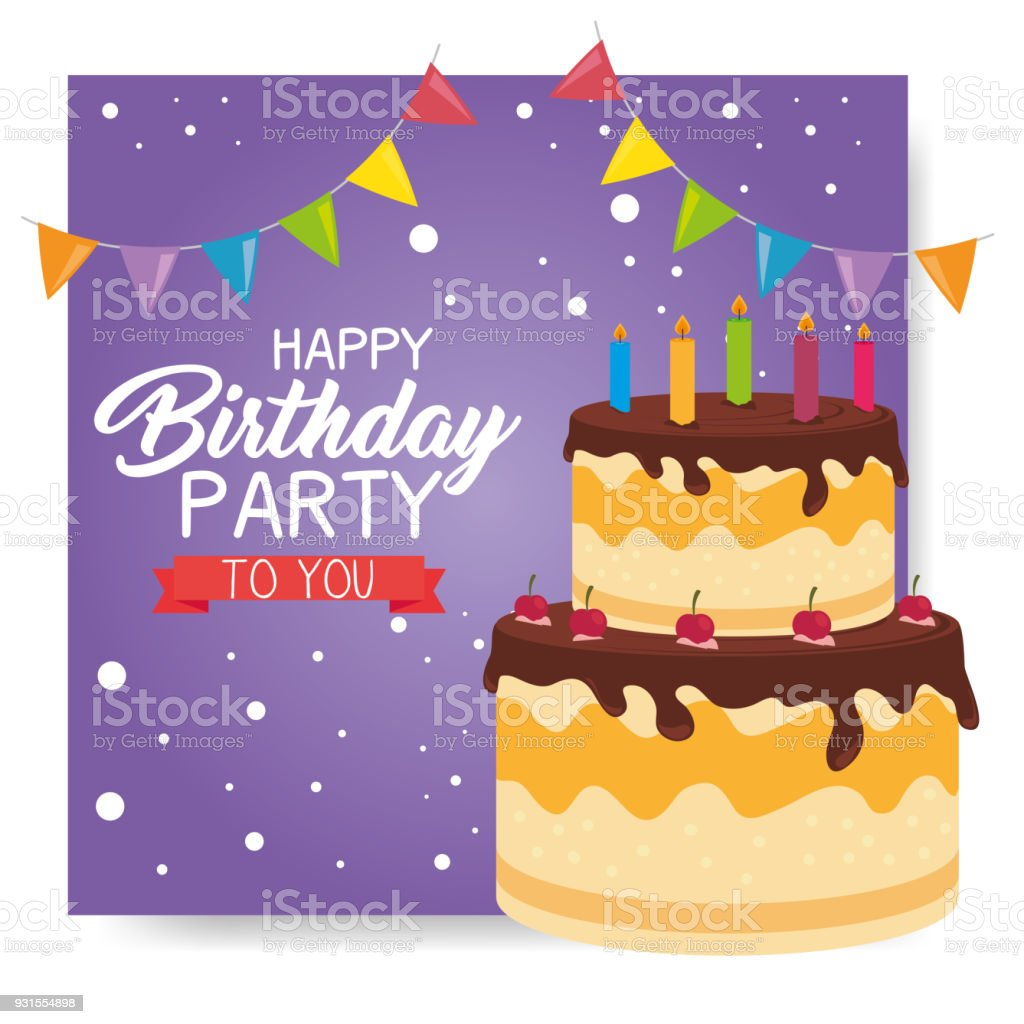 Happy Birthday Cake Greetings Colorful Happy Birthday Cake Card