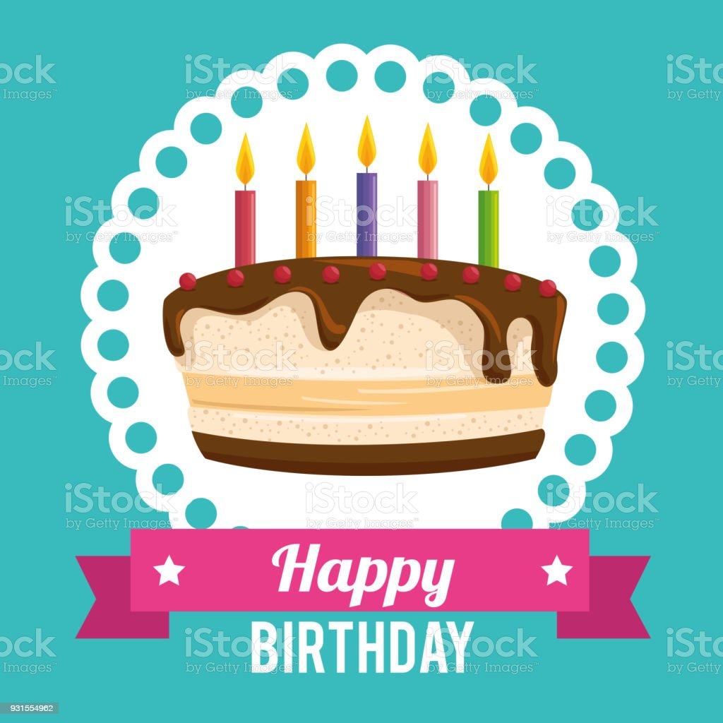 Happy Birthday Cake Card Stock Vector Art More Images Of